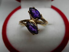 VINTAGE 10K GOLD TWO 8X4MM MARQUISE CUT NATURAL AMETHYST RING Sz6.25 NOT SCRAP