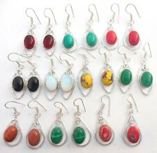christmas  GEMSTONE 10PR WHOLESALE! LOT 925 STERLING SILVER OVERLAY EARRING !