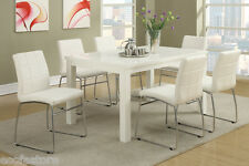 Modern 7Pc Dining Set Table Chic Chairs White Faux Leather Dining Room Furniture