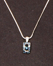 MODERN REGAL SILVER METAL NECKLACE W. NAVY DIAMANTE TOKEN 5CM ADJUSTABLE(ZX40)
