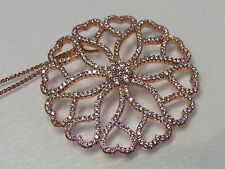 Amazing Floral & Circle of Hearts Rose Gold CZ Pave Set Pendant & Chain Necklace