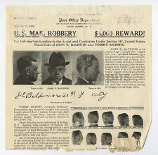 Wanted Notice - John E. Baldwin/Mail Robbery - New York - 1924 - $4000 Reward