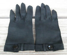 Vintage Selecta Black Cotton Ladies Gloves Button Detail Made in Japan 6 1/2