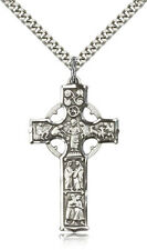 "925 Sterling Silver Celtic Irish Episcopalian Cross Necklace For Men 24"" Chain"