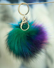 Keyring Pompom Keychain Ball Faux Fur 12cm Ball Monster Soft Fluffy Charm Dangle