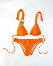 ROSA CHA BRAZILIAN TRIANGLE ORANGE BIKINI WITH EMBROIDERED EMBELLISHMENT SIZE S