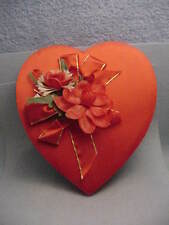 Vintage Fanny Farmer Red Satin Valentine Heart Candy Box With Plastic flowers