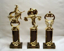 SET OF 3 HALLOWEEN TROPHIES WITCH/SCARECROW/PUMPKIN BLACK  FREE LETTERING