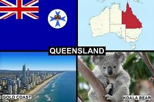 SOUVENIR FRIDGE MAGNET of THE STATE OF QUEENSLAND AUSTRALIA & GOLD COAST