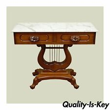 Vintage Victorian Mahogany Marble Top Lyre Harp Base Console Hall Entry Table