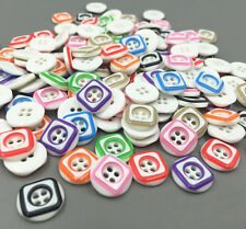 DIY 50X  Mix-color square Pattern Resin Buttons Sewing Crafts scrapbooking 13mm