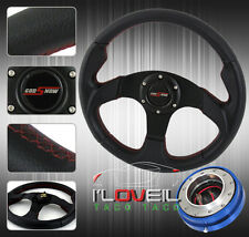 320MM PVC LEATHER RACING STEERING WHEEL W/ SLIM QUICK RELEASE ADAPTER & JDM HORN