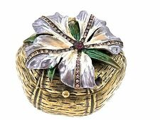 Hibiscus Purple Trinket Box SWAROVSKI CRYSTAL BEJEWEL ENAMEL  Jewelry Box
