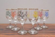 Stunning mid century Atomic design hand blown sherry glasses Mint Condition