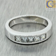 Estate 18k Solid White Gold 0.50ct Princess Diamond Wedding Band Ring