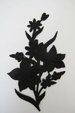"""#3819A 4-1/2"""" Black Wild Flower,Spring Flower Embroidery Iron On Appliqué Patch"""