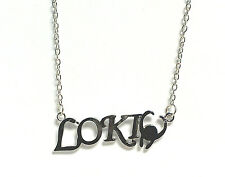 Loki marvel avengers necklace silver plated chain 20 inch lobster clasp