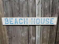 38 INCH BEACH HOUSE WOOD HAND PAINTED SIGN NAUTICAL SEAFOOD (#S461)