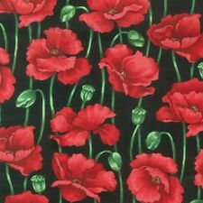 Nutex 100% cotton patchwork quilting fabric  FQ/ Metre POPPIES on BLACK