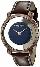 Men's Akribos XXIV AK856RGBR Retro Rose-tone Transparent Dial Brown Strap Watch
