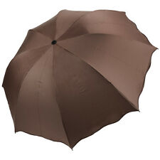 Coffee Windproof Non-Automatic Anti-UV Sun Rain Compact Folding Umbrella