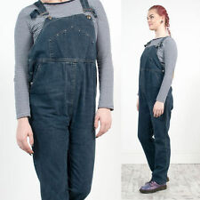VINTAGE 90'S DARK BLUE STUDDED DUNGAREES LONG DENIM ADJUSTABLE SALOPETTES 12