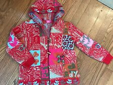 Girls Oilily 7 8 jacket coat red long sleeve wooden buttons