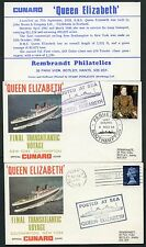 GB SHIP QUEEN ELIZABETH 1968 ILLUSTRATED ENVELOPES LAST VOYAGE +SAILING PAQUEBOT