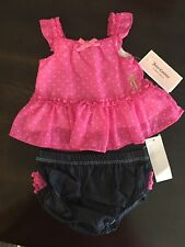 NWT Juicy Couture Baby Girls 2 Piece Dress & Diaper Cover Set, Size 6/9 Months