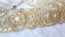 7cm- 1.5 meter Gorgeous gold embroidered diamante and beaded floral lace trim