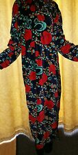 Rose floral ,Warm velour velvet lounge dress. Kaftan. Long night dress. XXl XL