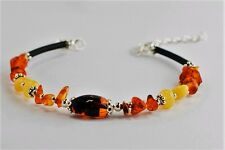 Sterling Silver Bracelet with Light Multicolour Amber Insertion