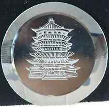 """Etched PAGODA TEMPLE 2.5""""w BEVELED Glass CRAFTS Stained GLASS"""