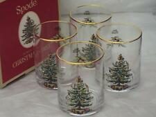 SET Of 4 Spode Christmas Tree DOUBLE OLD FASHIONED GLASSES TUMBLERS New Boxed