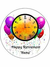 "Novelty Personalised Happy Retirement Clock  7.5"" Edible Wafer Paper Cake Topper"