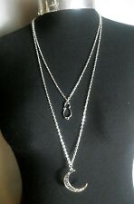 "Large Moon, Cat Charm Double Layered Necklace Minimalist Silver Tone 30"" Chain"