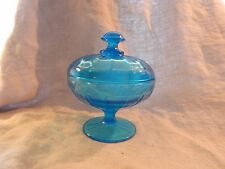 Vintage Blue Depression Glass Lidded Candy Dish Compote Pedestal