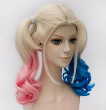 Batman Suicide Squad Harley Quinn Cosplay Wig Pink Blue Gradient Hair Xmas Gift