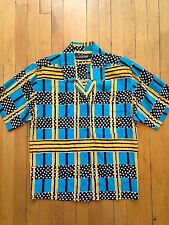 Vintage NITELINE DELLA ROUFOGALI 100% Silk Blue Yellow 80's Blouse Top S/M