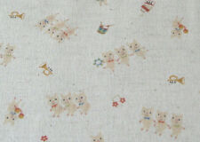 Japanese Three Little Pigs Cotton Linen Fabric Half Yard
