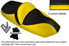 YELLOW AND BLACK CUSTOM FITS PIAGGIO X9 125 250 500 DUAL LEATHER SEAT COVER