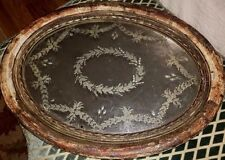 ANTIQUE 19th Century FRENCH Silver Gilt Wood Mirror Plateau Tray