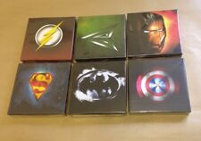 JOBLOT Of 6 SUPER HERO LOGOS  CANVAS PICTURES Each 6 X 6 Inches