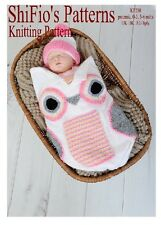 KNITTING PATTERN for BABY OWL COCOON PAPOOSE 3 SIZES  #250 by ShiFio Patterns