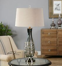 "31"" CHARCOAL GRAY GLASS GUN METAL FOOT TABLE LAMP HARDBACK LINEN SHADE LIGHT"