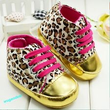 Baby Infant Toddler Unisex Leopard Gold Crib Shoes Walking Sneaker 6-12 Months