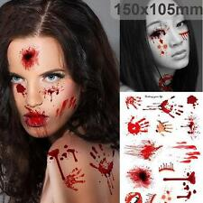 Temporary Tattoo Paper Body Face Bleeding Scar Sticker for Halloween Cosplay t5