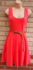 CLUB L PINK BELTED SKATER FLIPPY A LINE FLARE PARTY FORMAL ELEGANT TEA DRESS S
