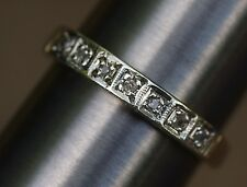 Old Cut Vintage Diamond 7 stone ET Ring 9K 375 Gold Size O Eternity