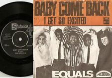 THE EQUALS BABY COME BACK & I GET SO EXCITED DANISH 45+PS `68 MOD BEAT R&B SOUL